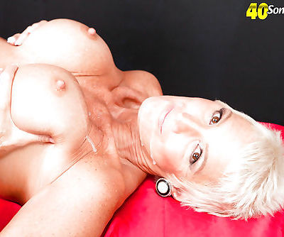 Short haired over 40 mature lady Lexy Cougar exposing big tits