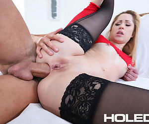 Blonde chick Goldie Glock goes ass to mouth after a hard butt fucking