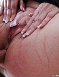 Buxom mature plumper Alisah Rydes taking hardcore pounding in fishnets