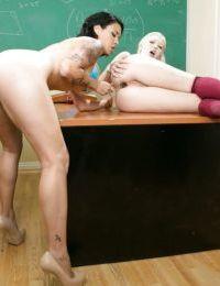 Lesbian schoolgirls Samantha Roane and Dana Vespoli lick and toy assholes