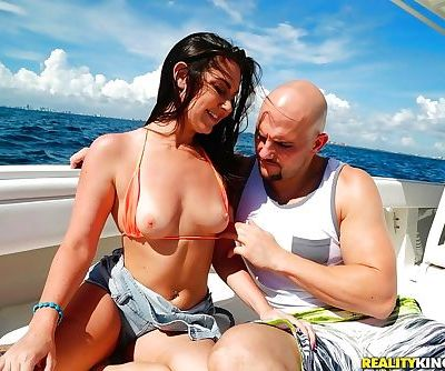 Brunette beauty Brittany Shae removing bikini before ass fucking on boat