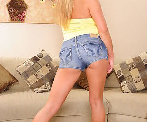 Asian MILF in jeans shorts Mia Lelani undressing and fingering her juicy holes