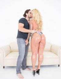 Thick older blonde Ryan Conner has her ass all lubed up for a hard anal fuck