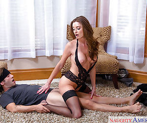 Horny housewife blindfolds hubby and lets him fuck her virgin asshole