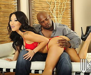 Asian slut with big melons Asa Akira has hardcore interracial sex