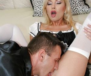 Slutty maid has some pussy licking and anal fucking fun with her master
