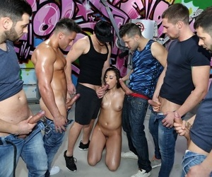 Nude female Carla Crouz gets ass fucked and jizzed on in a gangbang