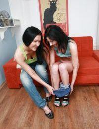 Vanessa Vaughn & Anne Angel have fun using their anal sex toys