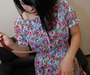 Asian teen Miku Makino striping surrounding coupled with demonstrating her dishevelled pink aperture