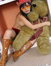 Nasty asian teen babe Hikaru Koto stripping and having fun