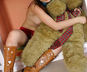 Unsightly asian teen coddle Hikaru Koto stripping added to having fun