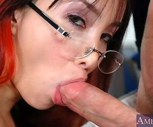 Asian office hottie in glasses Ktsuni scoring hard cock to fuck at work