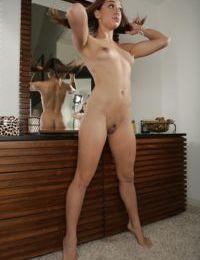 Innocent Asian babe with tiny tits Dana Vespoli takes off her shorts