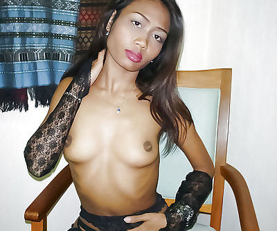 Affable and adventurous Asian babe Lek caresses her dark-skinned patch