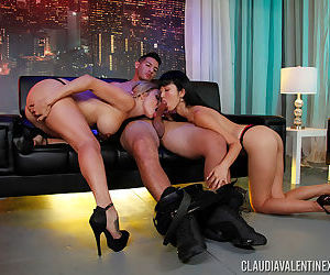 Asian and Caucasian chicks take turns sucking cock and and ball sac