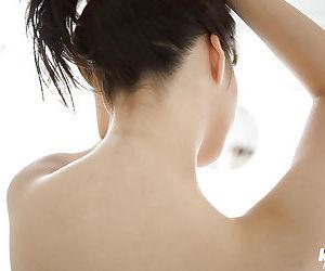 Big busted asian cutie Mai Nadasaka stripping and taking bath