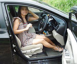Lana Outsidecar enjoys masturbating on her boyfriends hot car