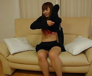Rollicking asian MILF take down a peg off their way clothes and exposing their way racy cunt