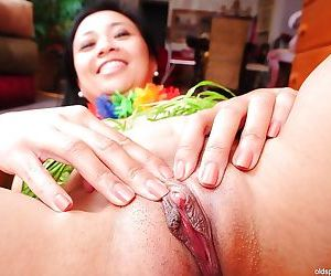 Mature brunette Lucky demonstrates her perfect Asian tiny tits