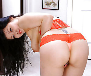 Sexy Asian first timer Ayane strutting topless in pretty undies