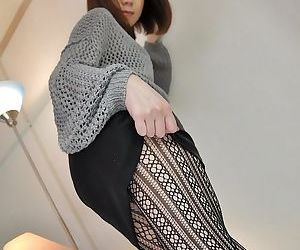 Beautiful asian brunette Mari looks amazing in her black pantyhose
