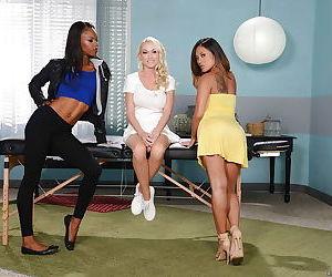 Asian girl Kaylani Lei- Ebony chick Madison Scott and Marie Luv have lesbian sex