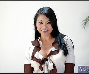 Sexy asian babe Mika Tan strips big boobs and stretches delightsome ass