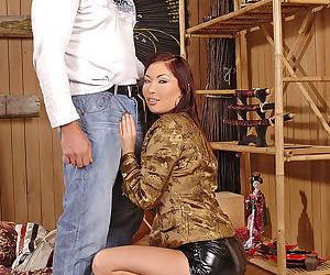Asian slut with huge tits Aisha Sun strips naked to give a blowjob