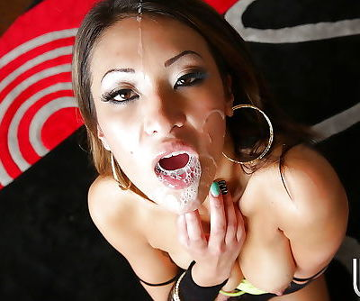 Slutty asian vixen gives head and gets screwed for cum on her eager face