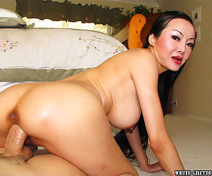 Bosomy asian MILF Ange Venus gets her shaved cunt drilled hardcore