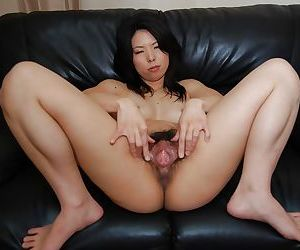 Close up masturbation from an excellent Asian with hairy cunt Takako Kitajima