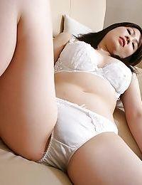 Japanese chicito Momo Akiyama delightsome off her underware and toying her shaggy gash