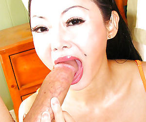 Full-bosomed asian slut Ange Venus gets screwed hardcore