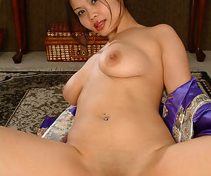 Asian first timer frees small saggy tits and and ass from lingerie