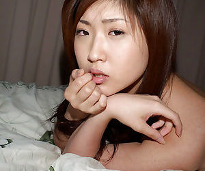Naughty asian neonate Mrano Matsushita banditry and posing naked on the bed