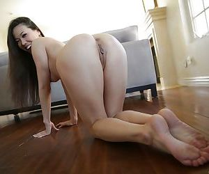 Luscious Asian pornstar Kalina Ryu showing off her long legs and cunt