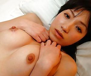 Bashful asian cutie Aki Ootsuka undressing and demonstrating her cunt everywhere courtroom