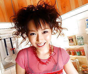 Lusty asian babe with sexy hands Aya Shiraishi having fun far transmitted to kitchen