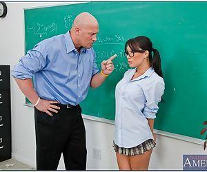 Asian schoolgirl Asa Akira getting hardcore banged for the bad grades