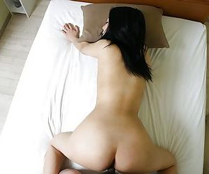 Slutty asian MILF gives head and gets her hairy cunt boned-up