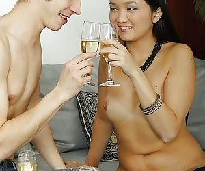 Saucy asian chick gets her tight love holes drilled hardcore