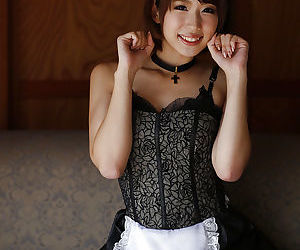 Cute Asian babe Seira Matsuoka modelling non nude in maid uniform