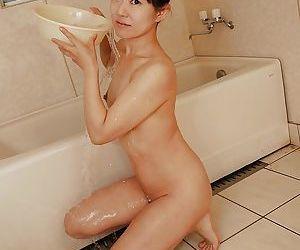 Asian Milf Ayane Ikeuchi gives her hairy bush and ass a bath