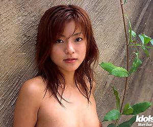 Crestfallen asian pet Madoka Ozava rapine not present her clothes open-air