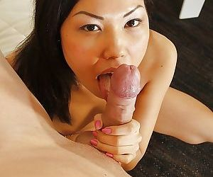 Asian cutie takes interracial ass fucking and cumshot in mouth