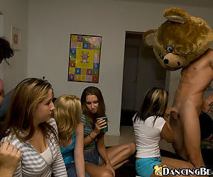 Asian chick gets nailed by a dancing bear on a wild coed party