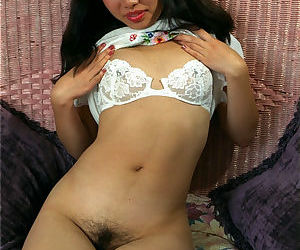 Asian first timer Ivy removing lace panties to spread hairy vagina