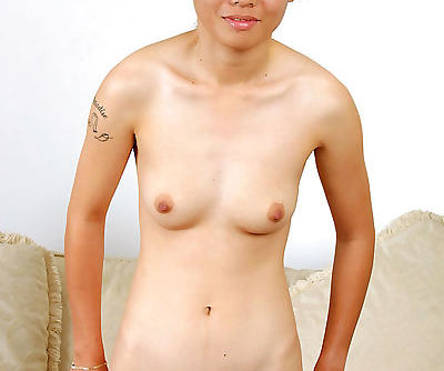 Petite Cambodian amateur Tiffany baring small tits and hairy muff