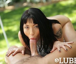 Asian female Rina Ellis sucks the sperm from a cock outside in POV mode