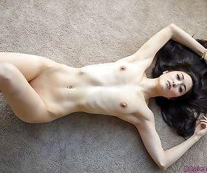 Asian babe Elena Dobrev revealing tiny tits and masturbating shaved vagina